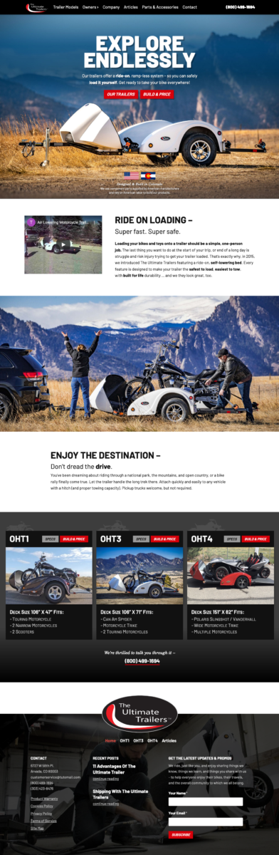 Website Design for a local Arvada Trailer Company