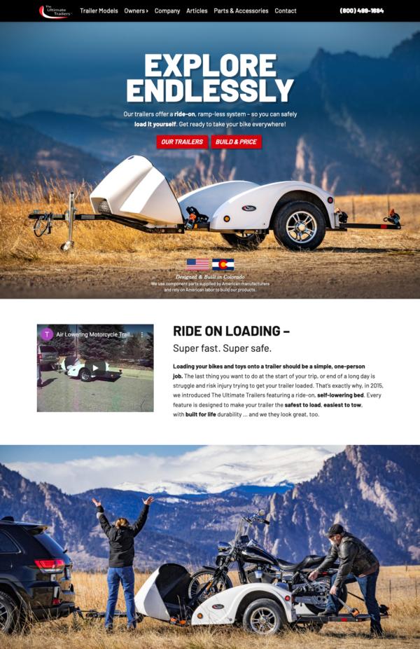 Website Design for a local Arvada Trailer Company